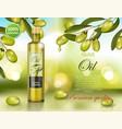 olive oil bottle design on green shiny background vector image vector image