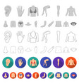 part of the body limb flat icons in set vector image