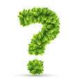 Question mark alphabet of green leaves vector image vector image