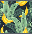 seamless pattern with banana and leaves vector image