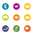send choice icons set flat style vector image vector image