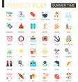 set flat summer time icons vector image vector image