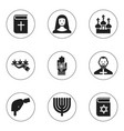 set of 9 editable religion icons includes symbols vector image