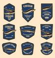 set sturgeon caviar labels design element vector image