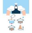 shrimp cooking instruction chef directions vector image vector image