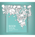 Social network background with media icons book vector image vector image