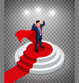 super businessman stands on a round podium vector image vector image