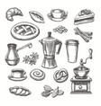 vintage desserts and coffee sketch vector image vector image