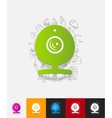 webcam paper sticker with hand drawn elements vector image