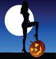 woman with halloween pumpkin vector image vector image