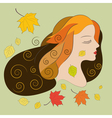 Young woman with autumn leaves flat vector image vector image