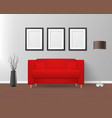3d realistic render red sofa couch with