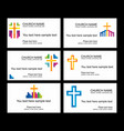 a set of business cards of the church vector image vector image