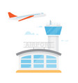 airport control tower and flying civil airplane vector image vector image