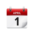 April 1 flat daily calendar icon Date and vector image