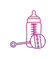 baby bottle and maraca design vector image vector image
