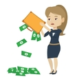 Bankrupt shaking out money from her briefcase vector image vector image