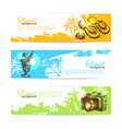 Banner set of travel colorful tropical splash vector image vector image