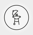 bbq camping icon editable thin line vector image