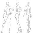 beautiful slim woman in different poses vector image vector image