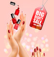 beauty flyer with manicured female hands and nail vector image vector image