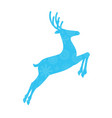 blue silhouette of jumping reindeer with snow vector image