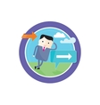 Businessman standing at a crossroad A signpost vector image