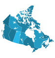 Canada regions map vector image vector image