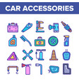 Car accessories tool collection icons set
