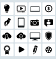 Clean black web icons set vector image vector image