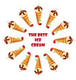 collection of ice cream sweet dessert cold food vector image vector image