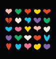 colorful cute isolated hearts on black background vector image