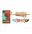 cooking or bakery chef school icons vector image vector image
