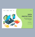 data protection landing page isometric mobile vector image vector image