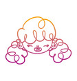 degraded line happy girl head with curly hairstyle vector image vector image