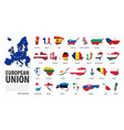 european union eu set flat design country vector image vector image