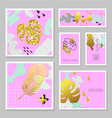 golden glitter tropical cards set memphis vector image vector image