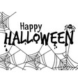 halloween text banner with spider vector image vector image