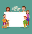 happy family banner children and parents concept vector image vector image