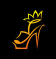 high heel sandal with a crown symbol icon vector image