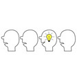 idea light bulb in head inside brain human vector image vector image