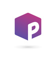 Letter P cube logo icon design template elements vector image