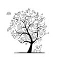magic unicorns tree sketch for your design vector image vector image