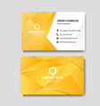 modern yellow business card with low poly vector image vector image