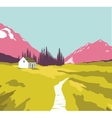 Mountain landscape with a lonely house vector image