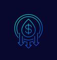oil price down icon line design vector image