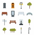 Park icons set flat style vector image vector image