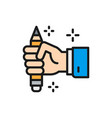 pencil in hand copywriting writer flat color vector image