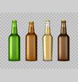 realistic detailed 3d glass beer bottles set vector image vector image