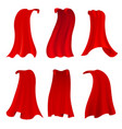 red hero cape realistic fabric scarlet cloak or vector image